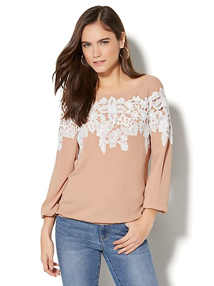 Lace-Trim Bubble-Hem Blouse - New York & Company