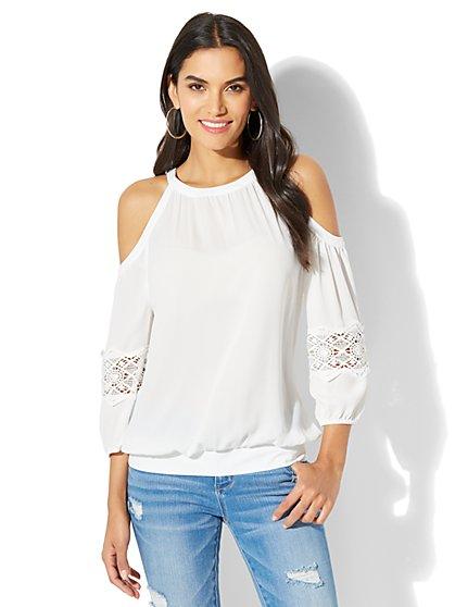 Lace-Trim Cold-Shoulder Blouse - New York & Company