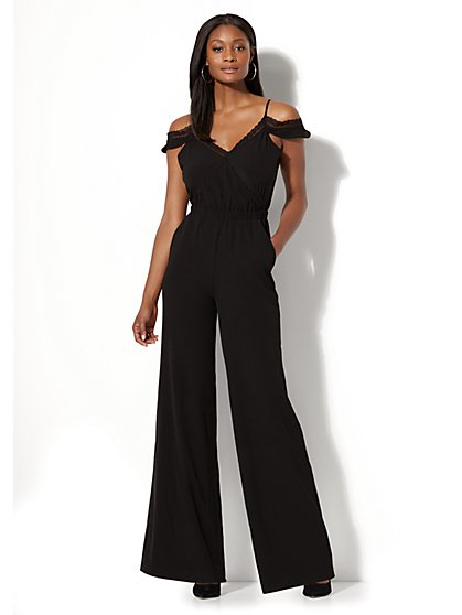 Lace-Trim Cold-Shoulder Jumpsuit - New York & Company