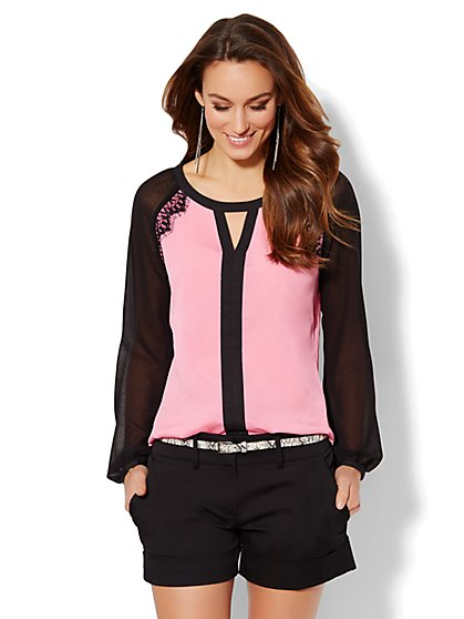 Lace-Trim Colorblock Blouse  - New York & Company