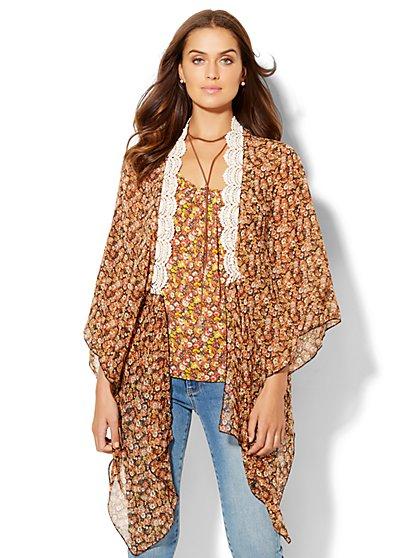 Lace-Trim Kimono - Print  - New York & Company