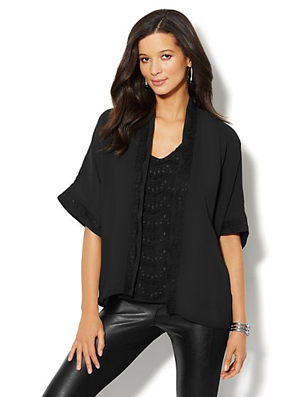 Lace-Trim Kimono-Sleeve Flyaway Jacket  - New York & Company