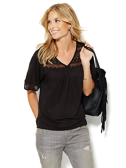 Lace Trim Knit Peasant Top - New York & Company