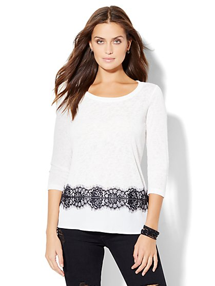 Lace-Trim Layered Pullover  - New York & Company