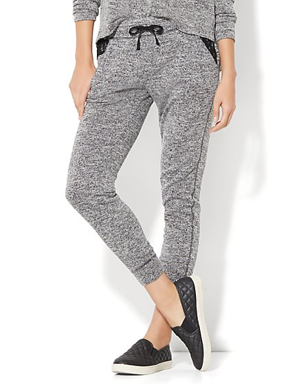 Lace-Trim Marled Knit Jogger - New York & Company