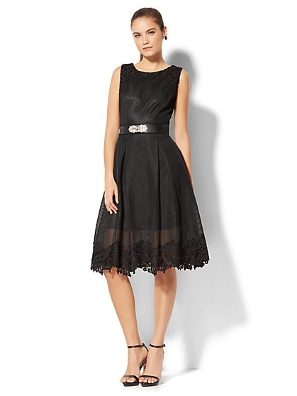 Lace-Trim Mesh Midi Dress - New York & Company