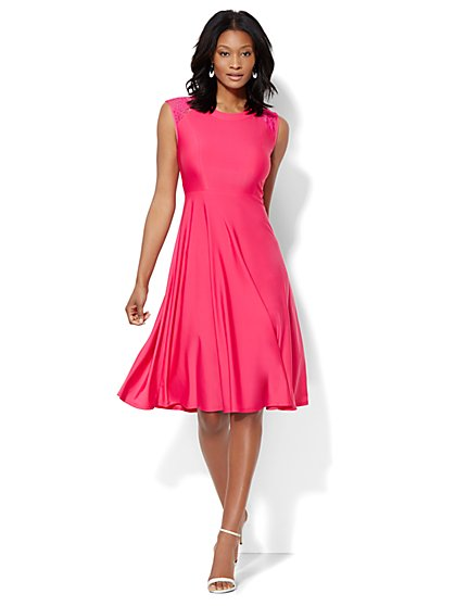 Lace-Trim Midi Flare Dress  - New York & Company