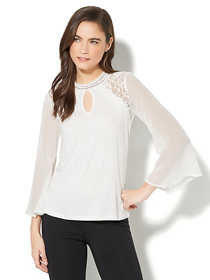 Lace-Trim Mock-Neck Top - New York & Company