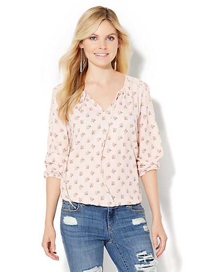 Lace-Trim Peasant Blouse - Floral  - New York & Company