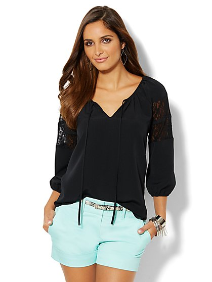 Lace-Trim Peasant Blouse  - New York & Company