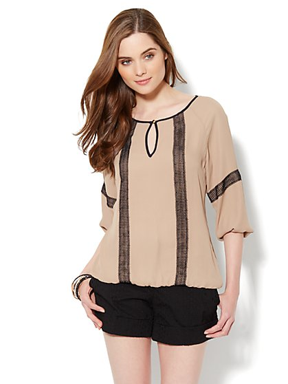 Lace-Trim Peasant Top