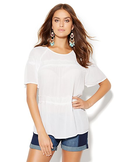 Lace-Trim Scoopneck Blouse  - New York & Company