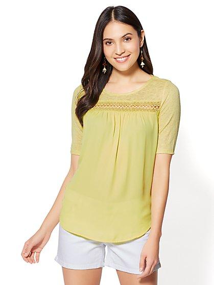 Lace-Trim Scoopneck T-Shirt - New York & Company