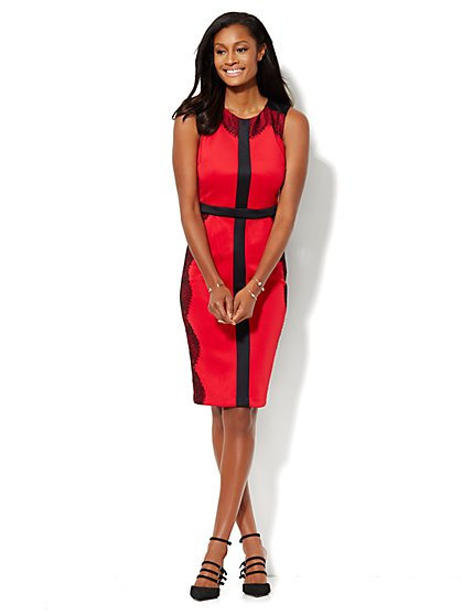 Lace-Trim Scuba Midi Sheath Dress - Flamenco Red - New York & Company