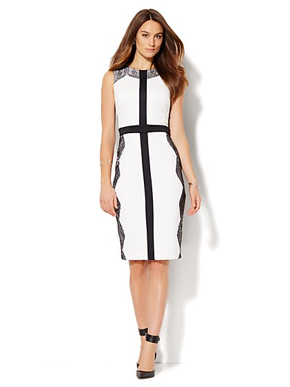 Lace-Trim Scuba Midi Sheath Dress  - New York & Company