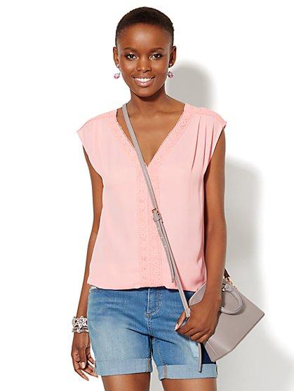 Lace-Trim Sleeveless Blouse  - New York & Company