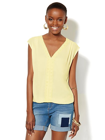 Lace-Trim Sleeveless Blouse  - New York & Company