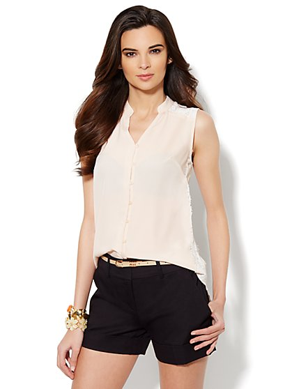 Lace-Trim Split-Neck Blouse