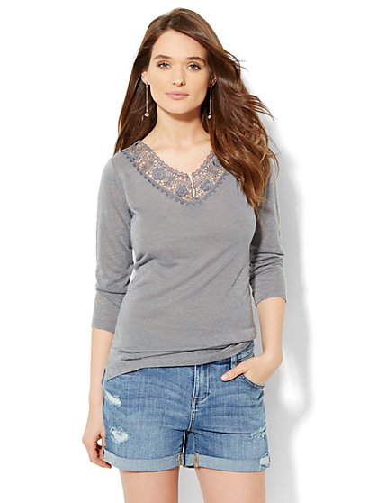 Lace-Trim Split-Neck Tee  - New York & Company