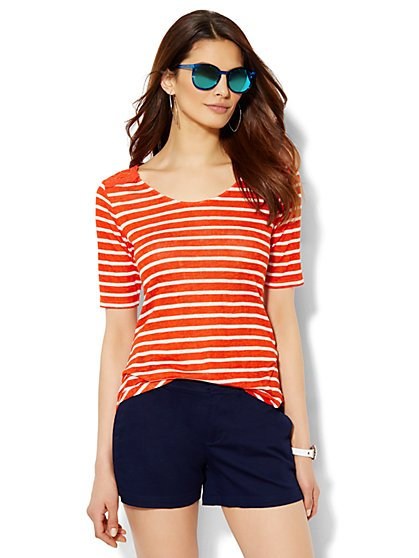 Lace-Trim Striped Tee  - New York & Company