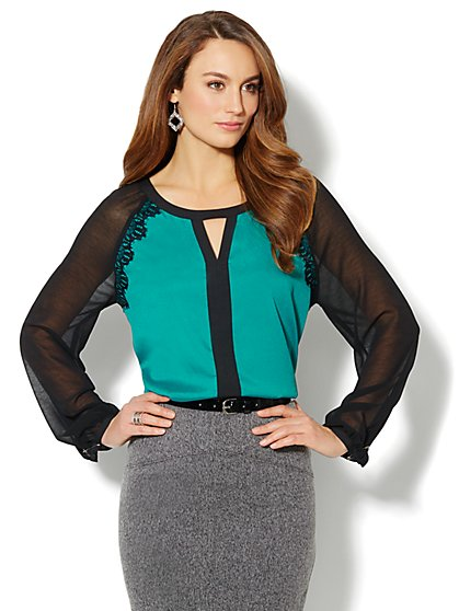 Lace-Trim Two-Tone Blouse - Green - New York & Company