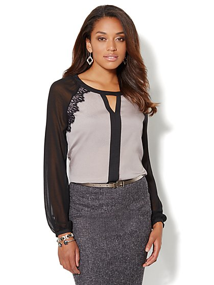 Lace-Trim Two-Tone Blouse - New York & Company