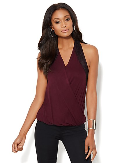 Lace-Trim Wrap Top  - New York & Company