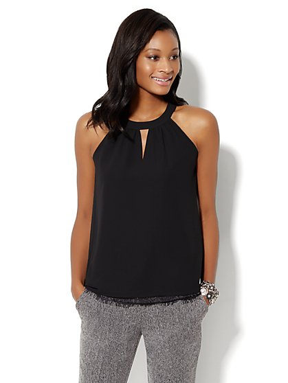Lace-Trimmed Halter Top  - New York & Company