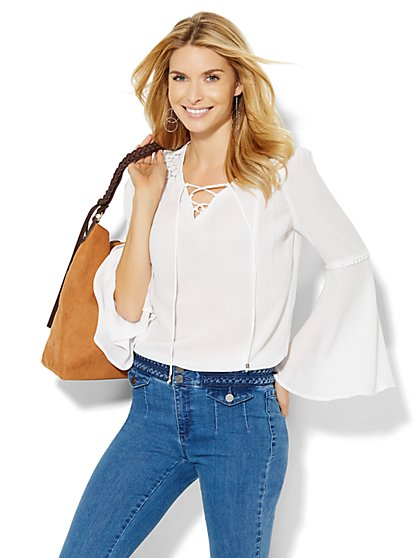 Lace-Up Bell Sleeve Blouse - New York & Company