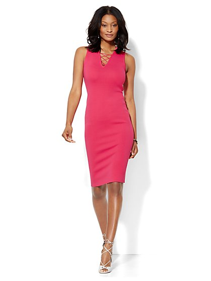 Lace-Up Bodycon Dress - Petite  - New York & Company