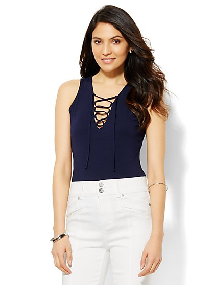 Lace-Up Bodysuit  - New York & Company