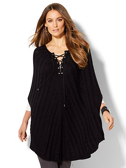 Lace-Up Cable-Knit Poncho  - New York & Company