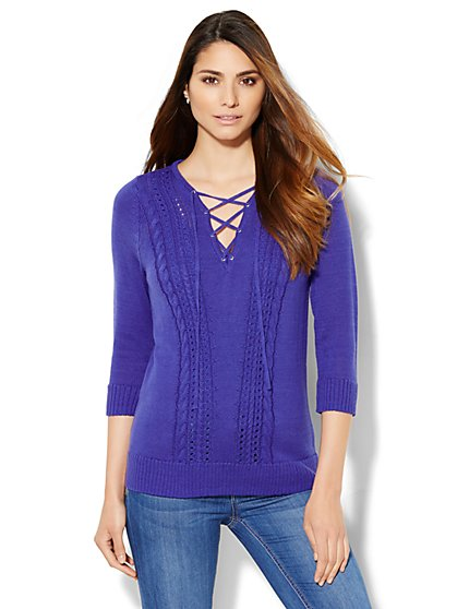 Lace-Up Cable-Knit Pullover  - New York & Company