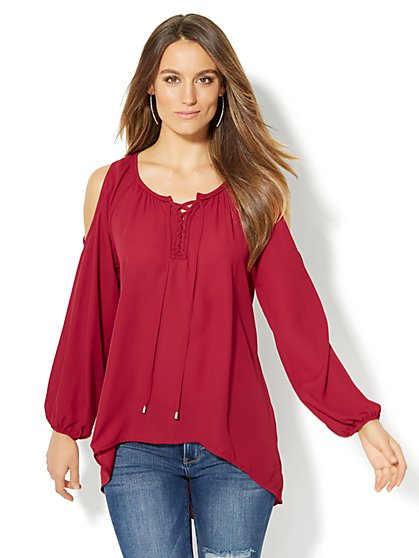 Lace-Up Cold-Shoulder Tunic - New York & Company