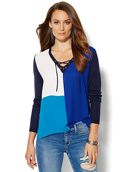 Lace-Up Colorblock Sweater - New York & Company