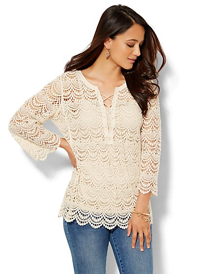 Lace-Up Crochet Top - New York & Company