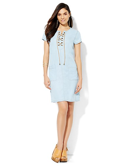 Lace-Up Denim Shift Dress - Medium Blue  - New York & Company