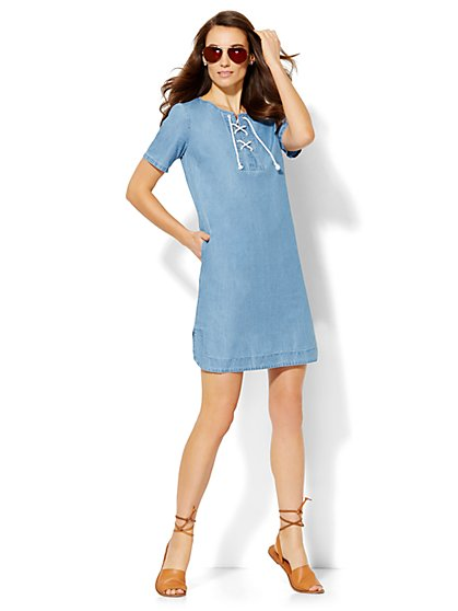 Lace-Up Denim Shift Dress  - New York & Company