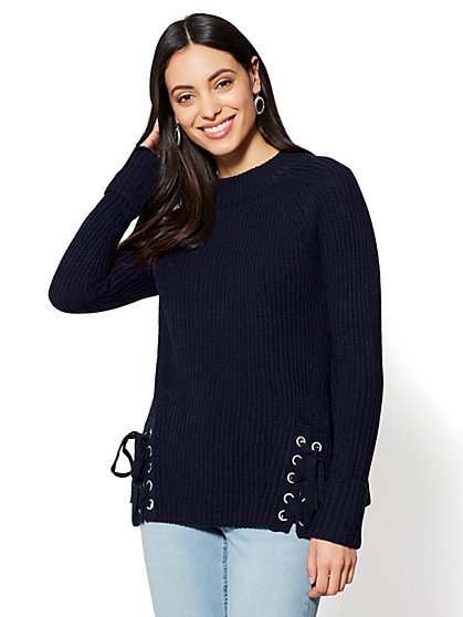 Lace-Up Detail Mock-Neck Sweater - New York & Company