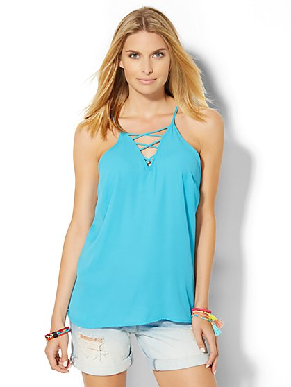 Lace-Up Halter Blouse  - New York & Company