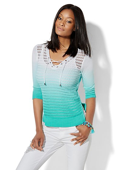 Lace-Up Hi-Lo Pullover -  Ombré - New York & Company