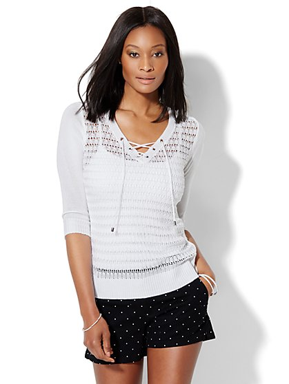 Lace-Up Hi-Lo Pullover  - New York & Company
