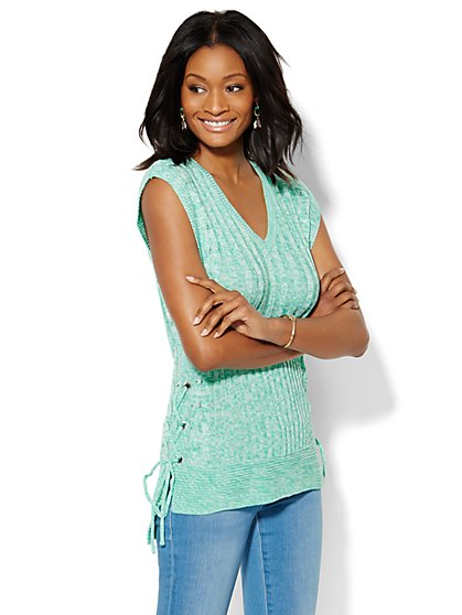 Lace-Up Hi-Lo Top - Marled - New York & Company