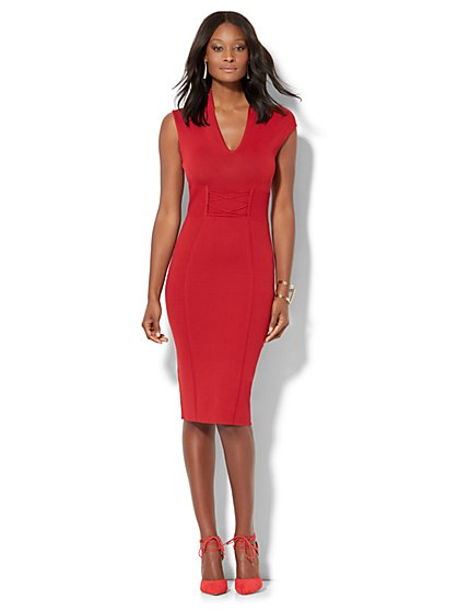 Lace-Up Knit Sheath Dress - Petite  - New York & Company