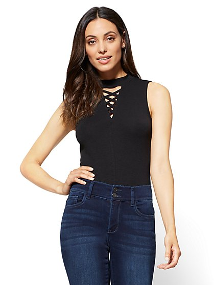 Lace-Up Mock-Neck Bodysuit - New York & Company