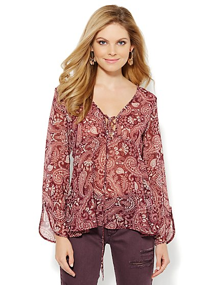 Lace-Up Paisley Blouse - New York & Company