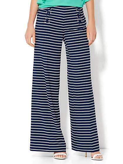 Lace-Up Palazzo Pant - Stripe  - New York & Company