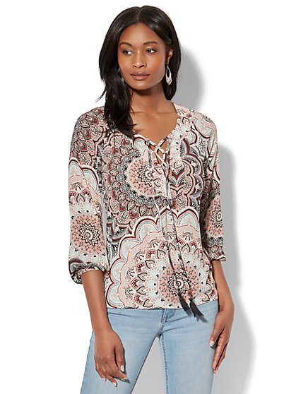 Lace-Up Peasant Blouse - Paisley Print - New York & Company