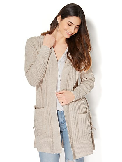 Lace-Up Ribbed-Knit Cardigan - New York & Company