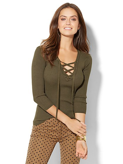 Lace-Up Ribbed-Knit Pullover Sweater - New York & Company